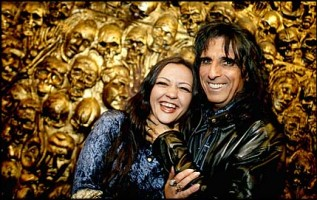 Lise Myhre and Alice Cooper